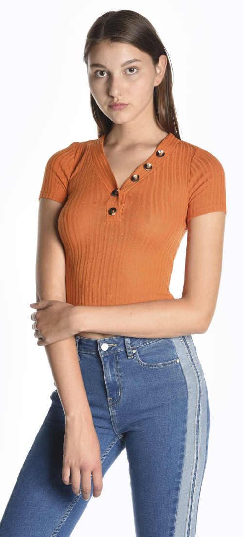 Žebrované dámské tričko medové barvy