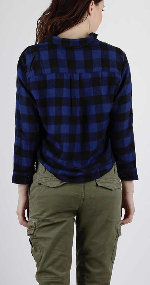 Károvaná modro-černá dámská košile s dlouhým rukávem