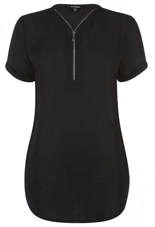 Prodloužené černé dámské tričko s výstřihem na zip