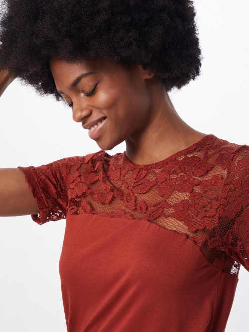 Oranžové dámské tričko s květinovou krajkou