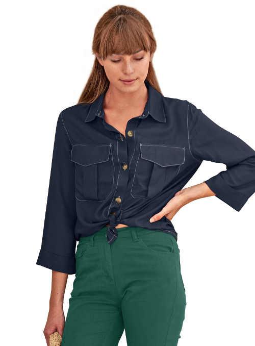 Dámská košile s praktickými kapsami jendobarevná