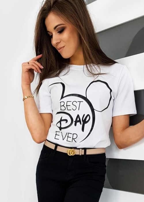 Příjemné dámské tričko v klasickém černo-bílém provedení