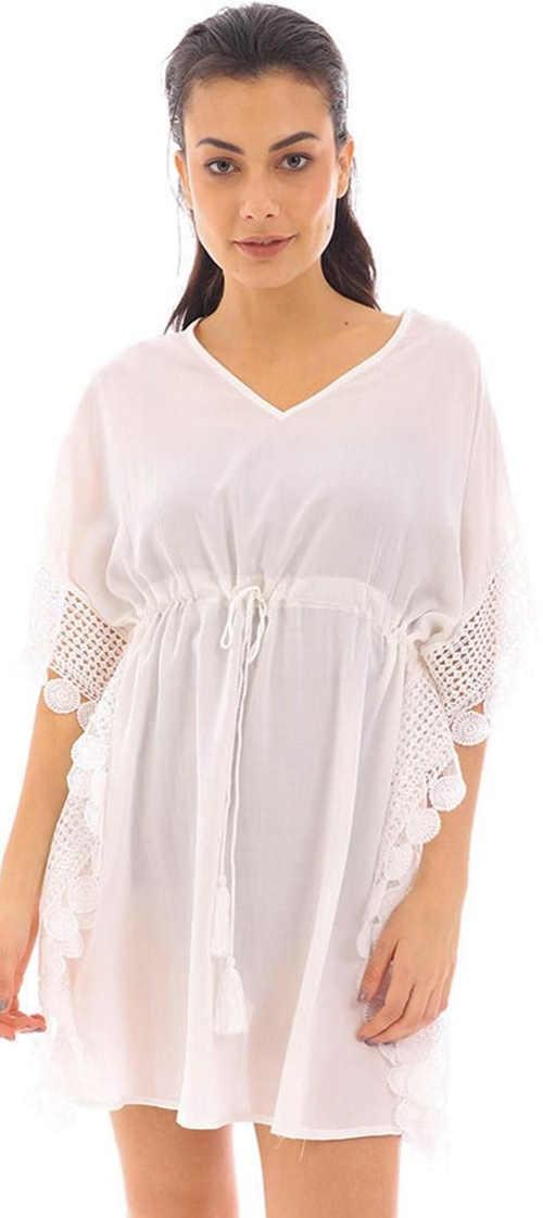 Bílé částečně průsvitné plážové šaty se stahovací šňůrkou pod prsy