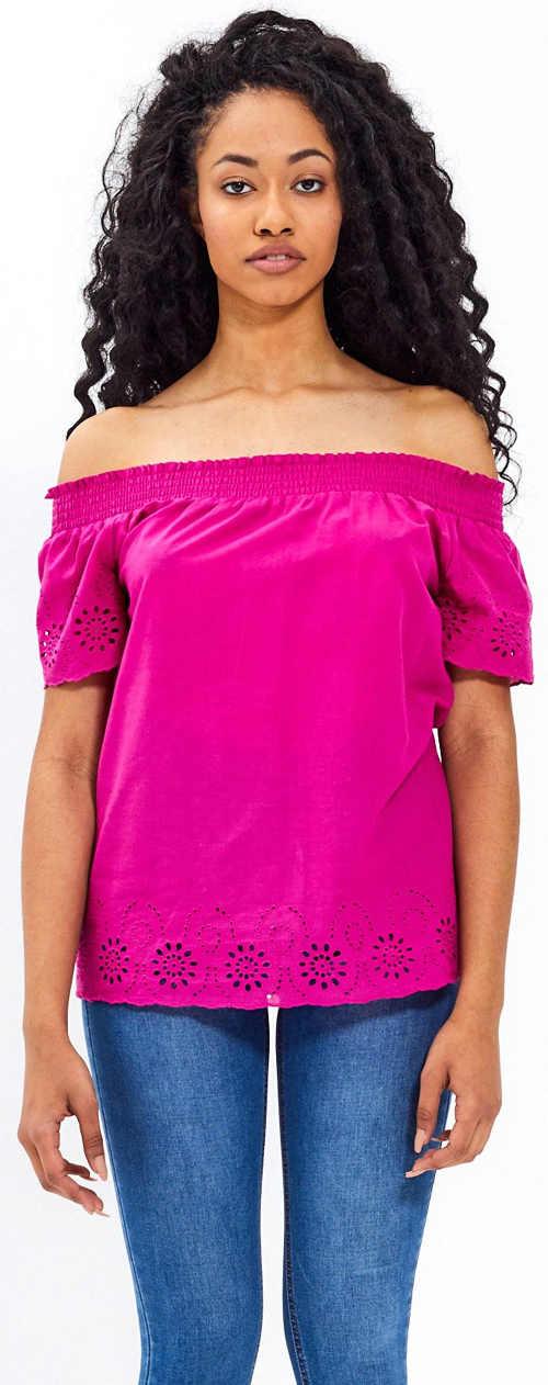 Fialové dámské tričko s děrovanou výšivkou