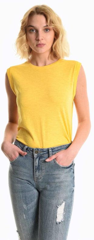 Jednobarevné žluté dámské letní tričko Gate