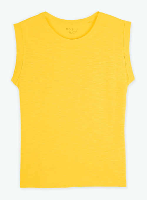 Jednobarevné žluté tričko bez rukávů a potisku