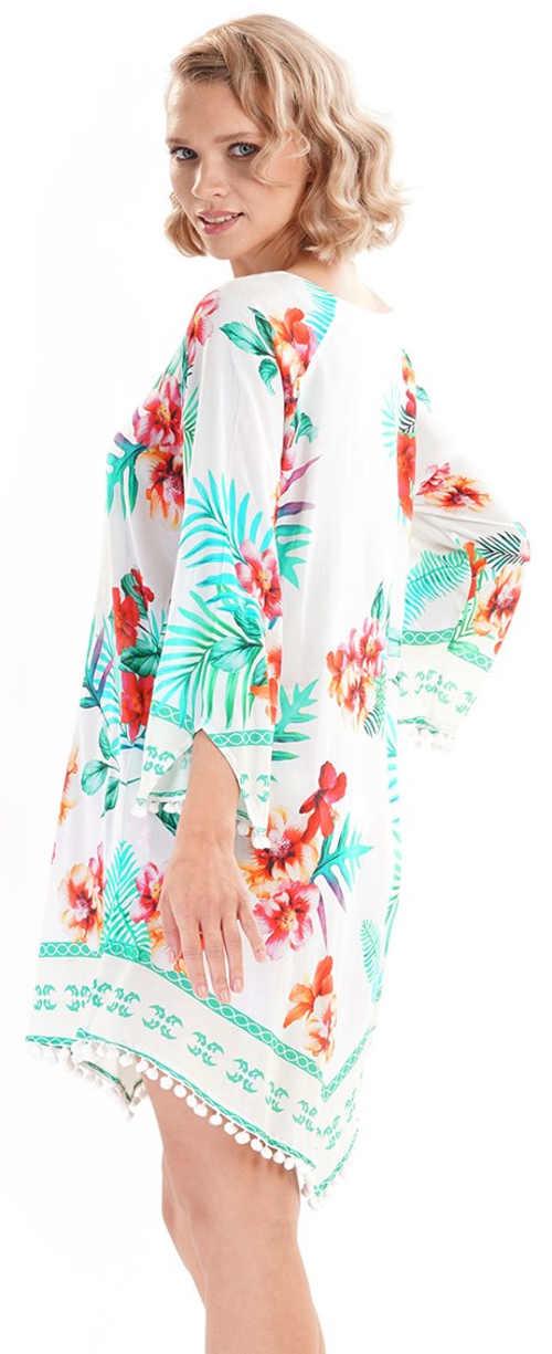 Květovaná plážová tunika s dlouhým rukávem