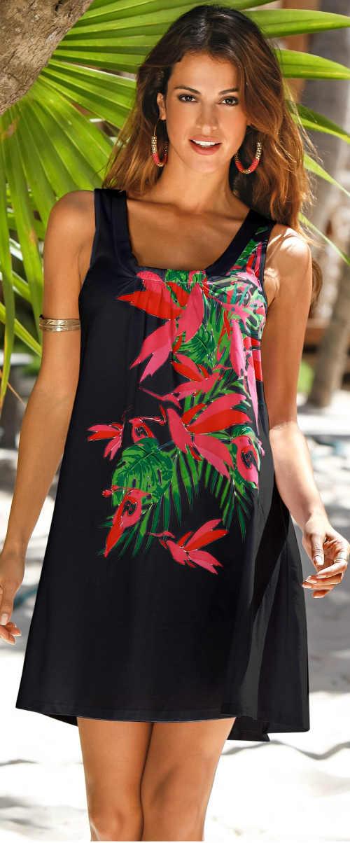 Květované dámské letní šaty bez rukávů