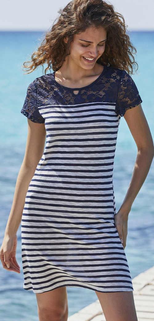 Letní krajkové dámské šaty v námořnickém stylu