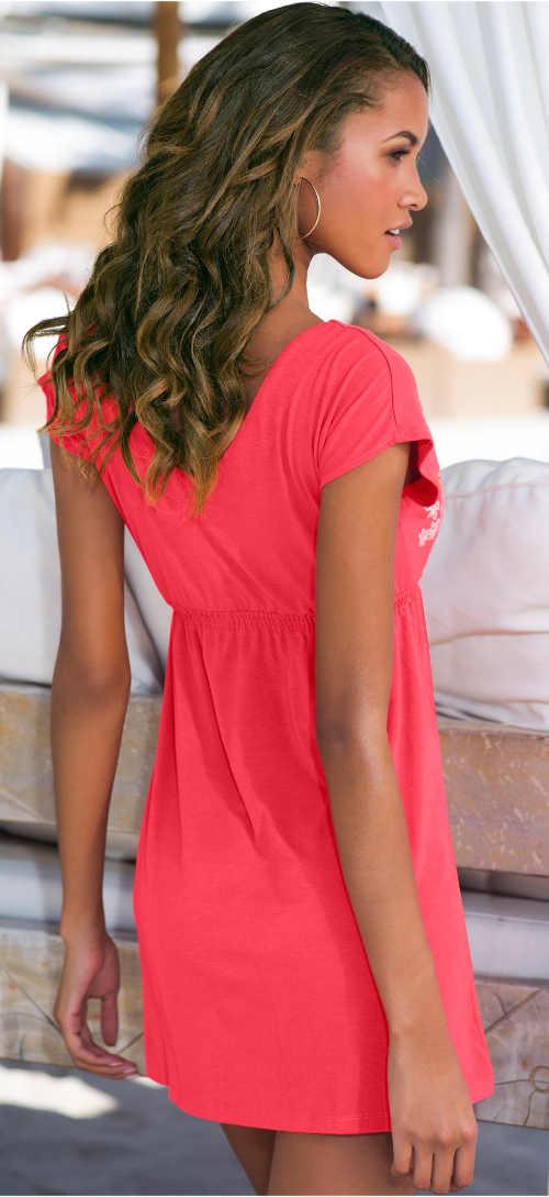 Levné korálové dámské letní šaty