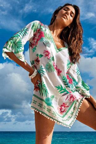 Luxusní italské plážové šaty květinovým potiskem