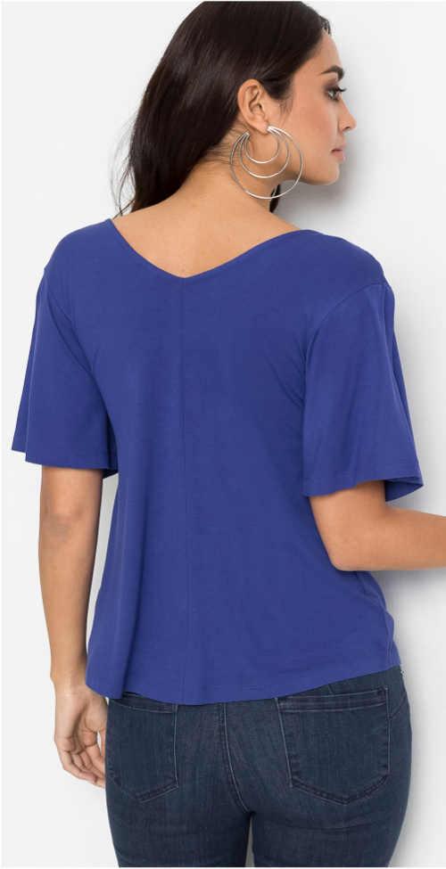 Safírově modré dámské tričko s krátkým rukávem