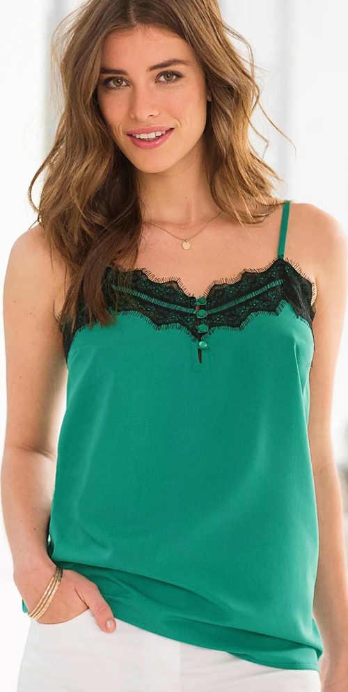 Zelené dámské tílko s černou krajkou