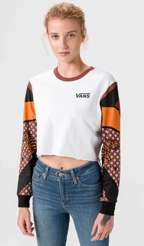 Bavlněné triko Vans s dlouhým rukávem v krátké délce