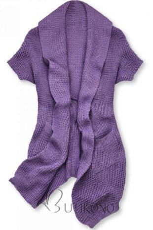 Fialový dámský pletený top v zajímavém asymetrickém střihu