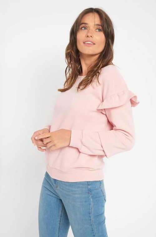 Pohodlné dámské triko s volánky a kulatým výstřihem u krku