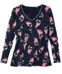 Triko s dlouhým rukávem a květinovým potiskem v módních barvách