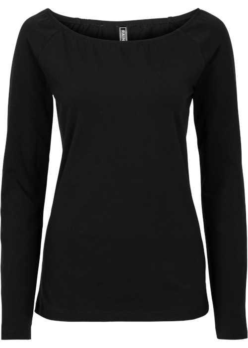 Černé moderní triko s dlouhým rukávem a sexy výstřihem