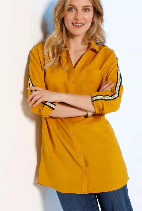 Dlouhá košile v jednobarevném provedení s lampasy
