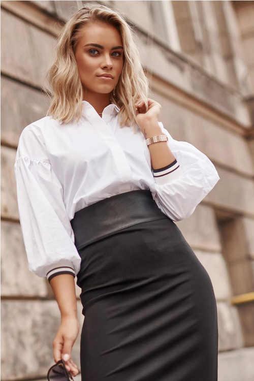 Módní dámská košile s nabíranými rukávy a barevnými manžetami