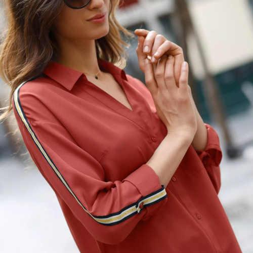 dlouhá košile v medové a červené barvě