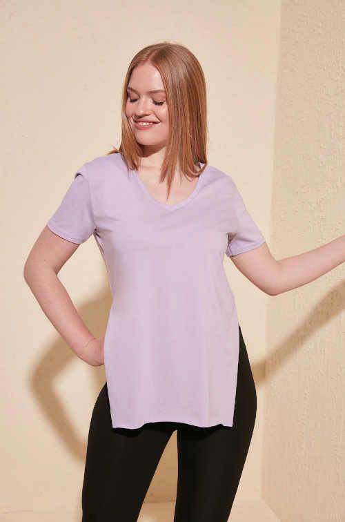 Dámské moderní bavlněné tričko s bočními rozparky