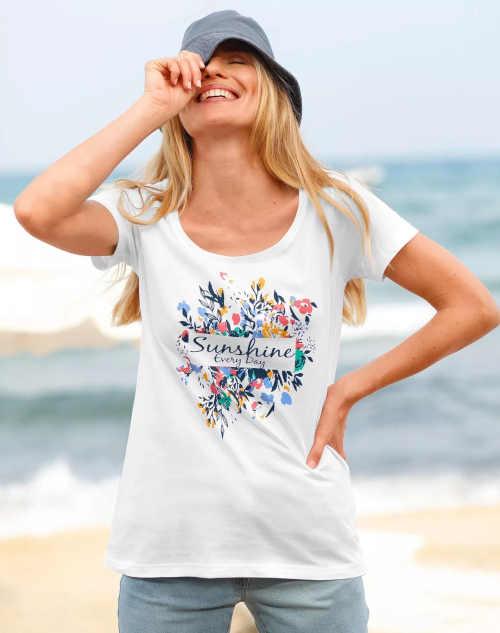 Moderní bavlněné tričko s květinovým potiskem a nápisem