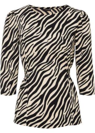 Módní halenka s nabíranými rukávy v moderním vzoru zebra