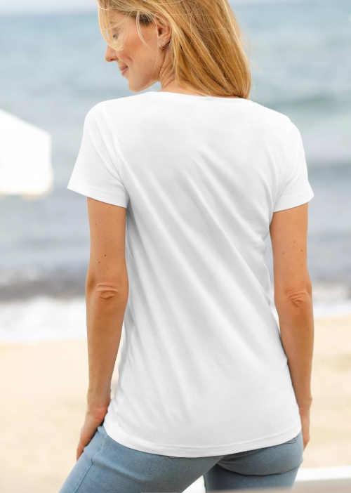 bílé bavlněné triko s kulatým výstřihem