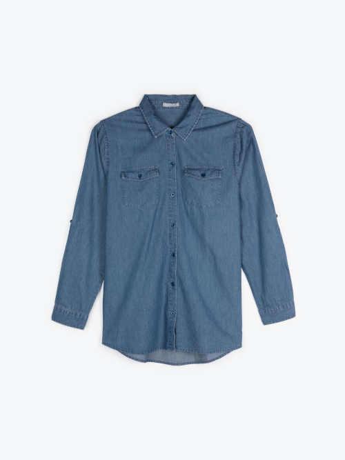 denimová košile s dlouhým rukávem
