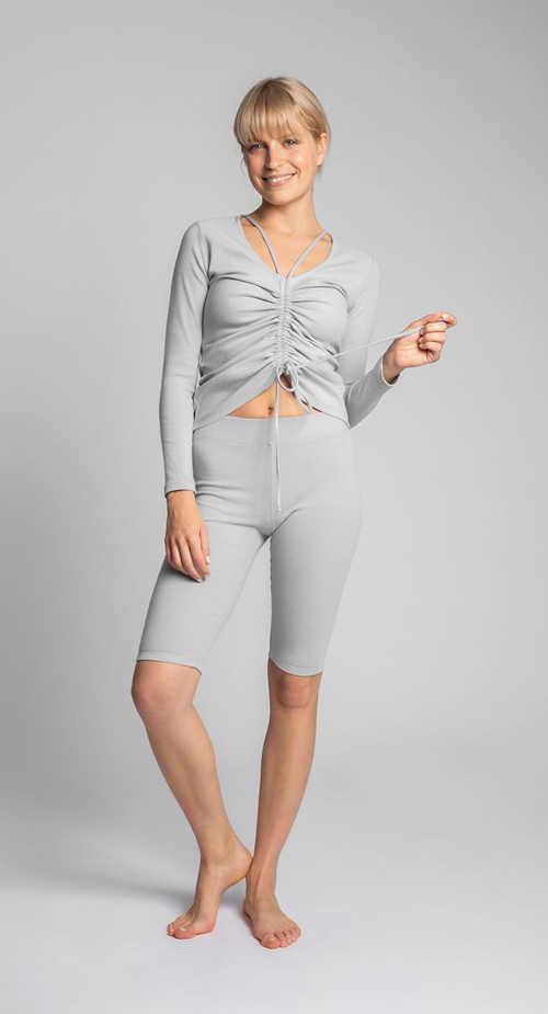 světle šedý dámský top z bavlny a elastanu
