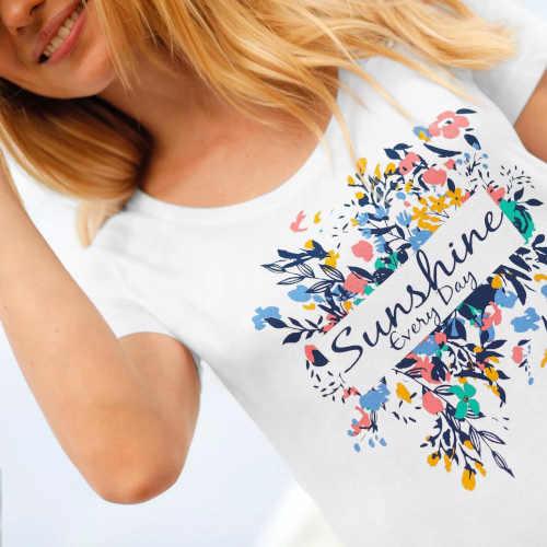 tričko z bavlny s potiskem a nápisem