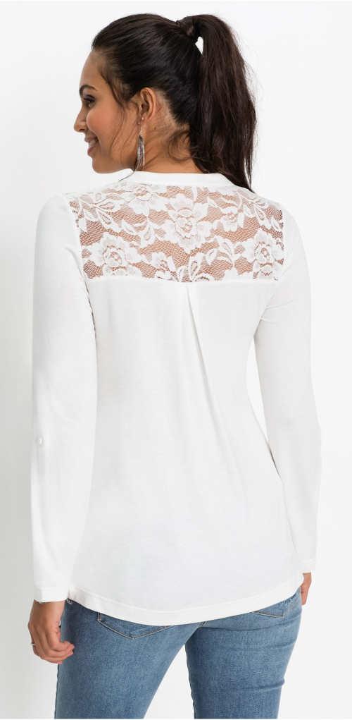 Bílé dámské tričko s dlouhým rukávem a krajkou na zádech