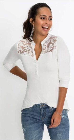 Bílé triko s dlouhým rukávem, krajkovou vsadkou a knoflíkovou légou