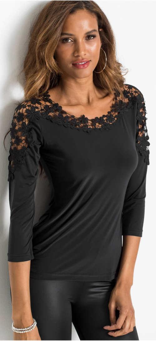 Černé dámské tričko s tříčtvrtečními rukávy a háčkovanou krajkou