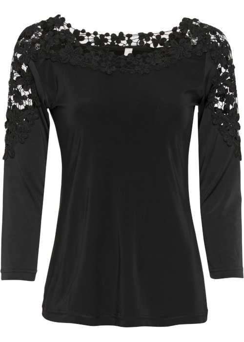 Jednobarevné černé dámské tričko s krajkovými vsadkami