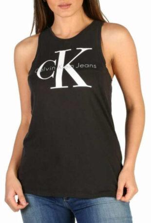 Letní černé dámské tílko s bílým nápisem Calvin Klein