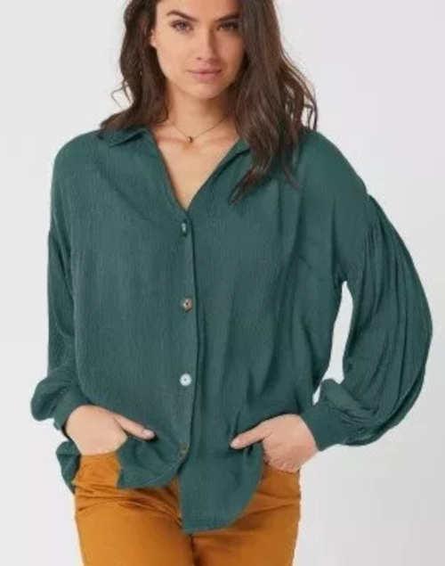 Zelená dámská košile volný střih