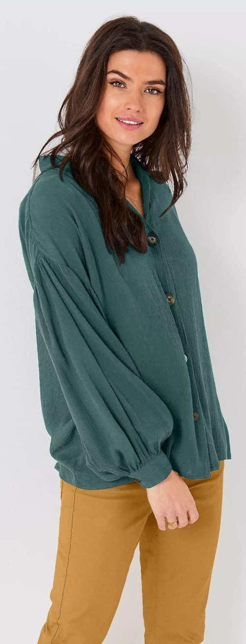 Zelená dámská košilová halenka s balonovými rukávy