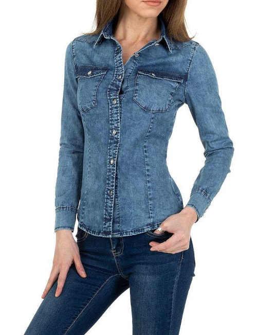 Dámská džínová košile s dlouhým rukávem v projmutém střihu