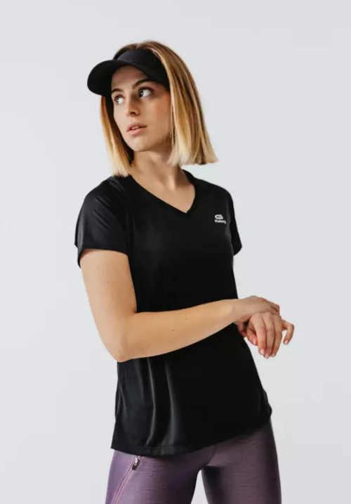 Dámské běžecké tričko s krátkým rukávem a výstřihem do V