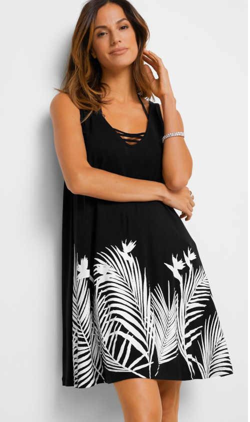 černo-bílé dámské plážové šaty