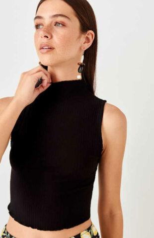 Dámský moderní úpletový top v černé barvě se stojáčkem u krku