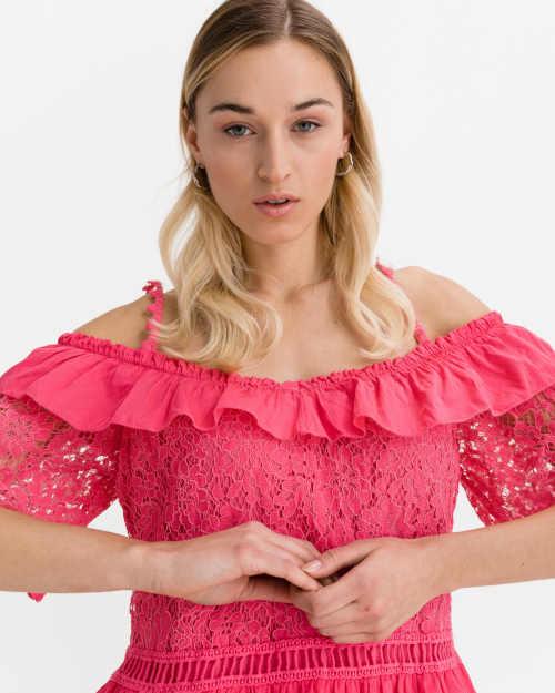 bavlněná růžová halenka s krajkou