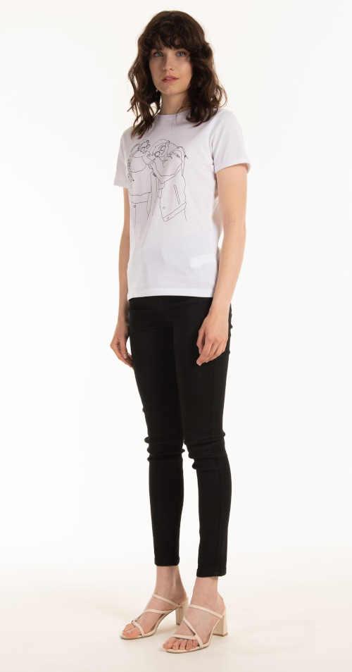 bavlněné tričko bílé s černým potiskem