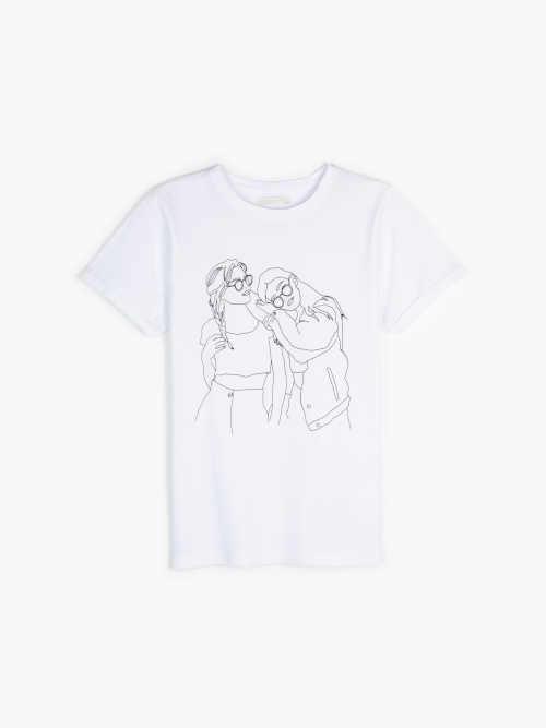 jednoduché tričko oživené pero kresbou