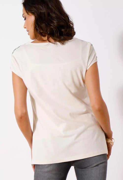 tričko macramé s kulatým výstřihem