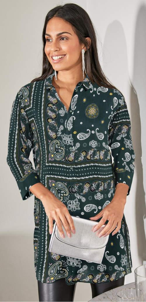 Dlouhá košilová halenka s tříčtvrtečními rukávy