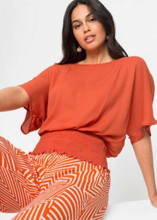 Oranžová kimonová halenka se žabičkovaným efektem