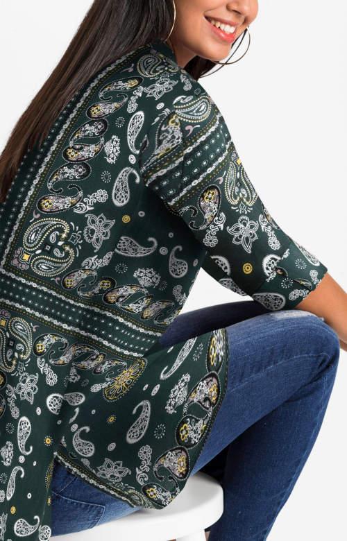 Zelená košilová dámská halenka s etno potiskem